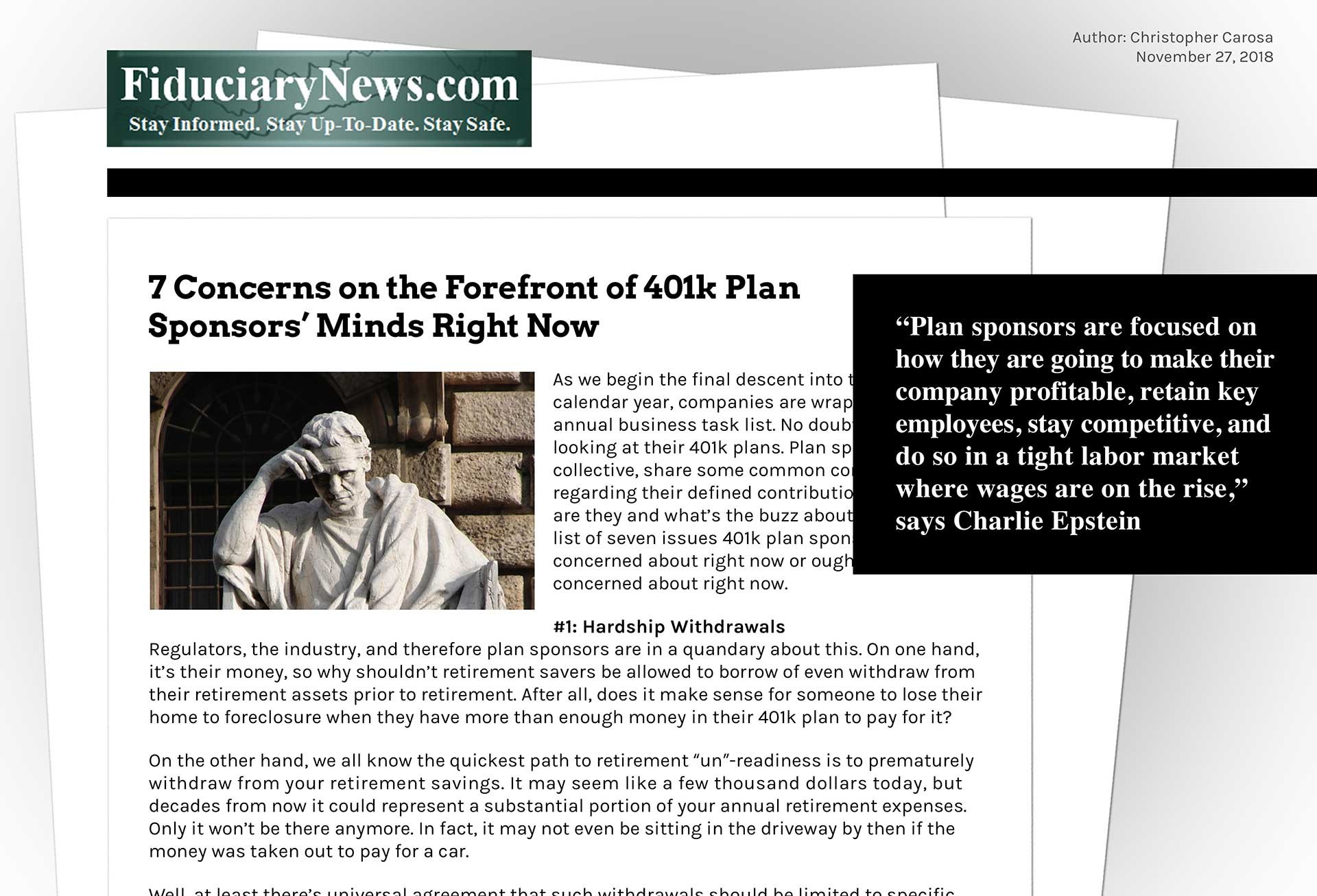 Epstein-FiduciaryNews-7-Concerns-401k-Plan-Sponsors-Article