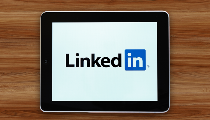 Tablet with LinkedIn logo